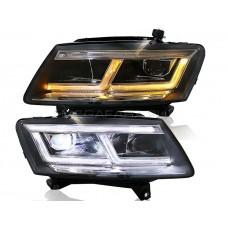 Передние фары Ауди Q5 2009-2018 V1 type [Комплект Л+П; светодиодные; электрокорректор; Яркие ходовые огни; светодиодный поворотник]