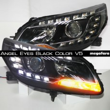 Передние фары Шевроле Малибу Angel Eyes Black Color V5 Type