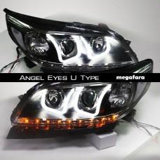 Передние фары Шевроле Малибу Angel Eyes U Type