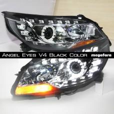 Передние фары Шевроле Малибу Angel Eyes V4 Black Color
