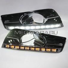 Дневные ходовые огни Шевроле Круз  2009-2012 V5 Type [Комплект Л+П;светодиодные; повторитель поворота; 10 диодов]