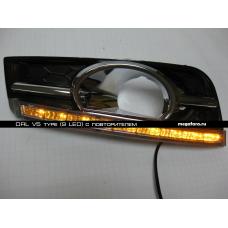 Дневные ходовые огни Шевроле Круз V5 Type с повторителем (9 LED)