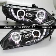Передние фары Honda Civic Angel Eyes 2006-11