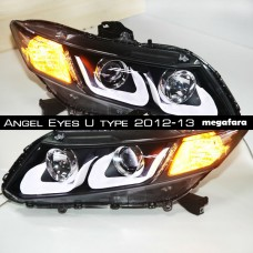 Передние фары Honda Civic Angel Eyes U type 2012-13