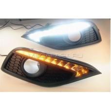 Дневные ходовые огни Хонда СРВ 2012-2015 V1 type [Комплект Л+П;светодиодные; повторитель поворота]