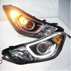 Передние фары Хендай Элантра V6 type [Комплект Л+П; яркие ходовые огни; электрокорректор; биксеноновая линза]