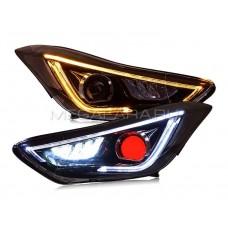 Передние фары Хендай Элантра V8 type [Комплект Л+П; яркие ходовые огни; электрокорректор; биксеноновая линза]