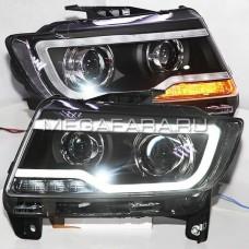Передние фары Джип Компас 2011-2015 V1 type [комплект Л+П, ходовые огни; электрокорректор]