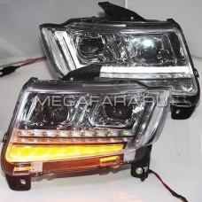 Передние фары Джип Компас 2011-2015 V2 type [комплект Л+П, ходовые огни; электрокорректор]