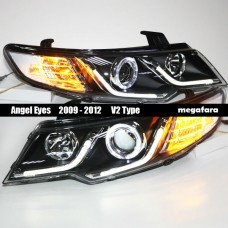 Передние фары KIA Cerato Angel Eyes 2009 - 2012 V2 Type