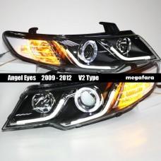 Передние фары KIA Cerato Angel Eyes 2009 - 2012 V2 Type