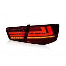 Задние фонари Киа Церато 2009-2013 V5 type ТЕМНО КРАСНЫЕ [Комплект Л+П; светодиодные; бегущий поворотник]