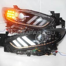 Передние фары Мазда 6 2013-2015 V6 type [Комплект Л+П; LED ходовые огни; электрокорректор; биксеноновая линза]