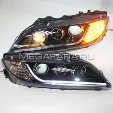 Передние фары Мазда 6 2004-2011 V4 type [Комплект Л+П; LED ходовые огни; электрокорректор; биксеноновая линза]