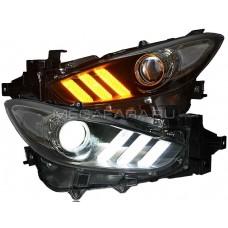 Передние фары Мазда 3 2017-2019 V7 type [комплект Л+П, бегущий поворотник, ходовые огни; электрокорректор]