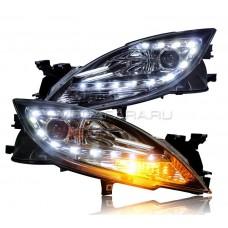 Передние фары Мазда 6 GH 2007-2013 V9 type [Комплект Л+П; LED ходовые огни; электрокорректор; биксеноновая линза]