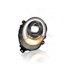 Передние фары Мини Купер F55 F56 2014-2018 V2 type [Комплект Л+П; светодиодные яркие ходовые огни; биксеноновая линза HELLA 5R; электрокорректор]