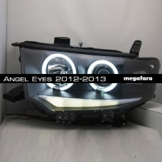 Передние фары Mitsubishi Pajero Sport  Angel Eyes 2012-2013