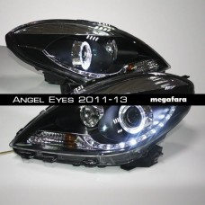 Передние фары Nissan Sunny Angel Eyes 2011-13