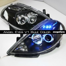 Передние фары Nissan Tiida Angel Eyes 2008-2010 V1 Type Bule Color