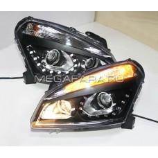 Передние фары Ниссан Кашкай 2008-2010 V2 type [Комплект Л+П; LED ходовые огни; электрокорректор; биксеноновая линза]