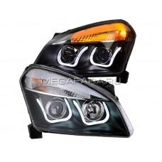 Передние фары Ниссан Кашкай 2008-2010 V1 type [Комплект Л+П; LED ходовые огни; электрокорректор; биксеноновая линза]