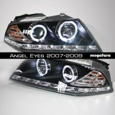Передние фары Skoda Octavia Angel Eyes 2007-2009