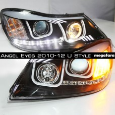 Передние фары Skoda Octavia Angel Eyes 2010-12 U Style