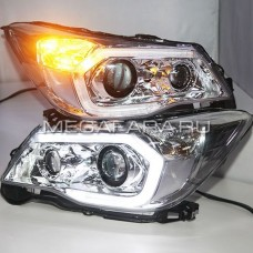 Передние фары Субару Форестер 2013-2016 V3 type  [Комплект Л+П; яркие ходовые огни; электрокорректор; биксеноновая линза]