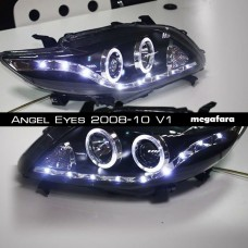 Передние фары Toyota Corolla Angel Eyes 2008-10 V1 Type White