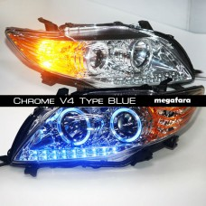 Передние фары Toyota Corolla Chrome V4 Type BLUE