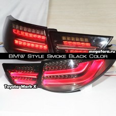 Задние фонари Toyota Mark X (Тойота Марк х) 2010-2013 BMW Style Smoke Black Color