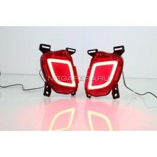 Светодиодные вставки в задний бампер Тойота Хайлендер XU50 LED Bumper V1 type / LED катафоты Хайлендер LED Bumper V1 type