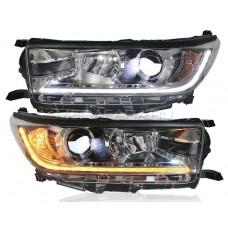 Передние фары Тойота Хайлендер 2018-2020 V20 type [Биксеноновая линза HELLA 5, комплект Л+П, ходовые огни, бегущий поворотник, LED дальний свет ]