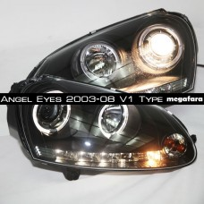 Передние фары Volkswagen Golf V Angel Eyes 2003-2008 V1 Type