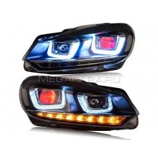 Передние фары Гольф 6 2008-2012 V9 Type [Комплект Л+П; яркие светодиодные ходовые огни; светодиодный поворотник; электрокорректор]