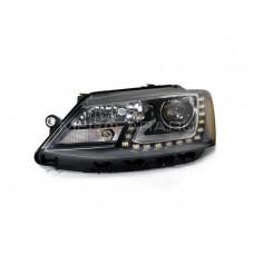 Передние фары Джетта 6 2011-2015 V15 type [Комплект Л+П; ходовые огни; биксеноновая линза Хелла 5R; электрокорректор; OEM replica]
