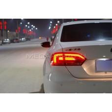 Задние фонари Джетта 6 2011-2013 V6 type [Комплект Л+П; Полностью светодиодные; динамичный поворотник; Темно красные]
