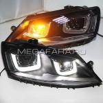 Передние фары Джетта 6 2011-2019 V11 type [Комплект Л+П; ходовые огни; биксеноновая линза Q5; электрокорректор]
