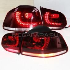 Задние фонари Гольф 6 2008 - 2012 GTI КРАСНЫЕ V3 type