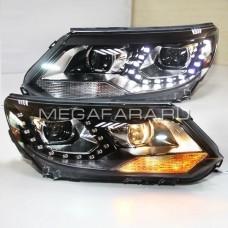 Передние фары VW Тигуан 2013-2015 V9 type  [Комплект Л+П; яркие ходовые огни; светодиодные; биксеноновая линза]