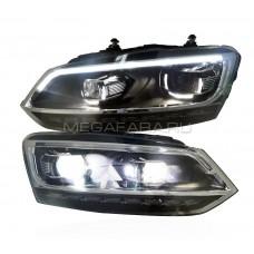 Передние фары Фольксваген Поло 2010-19 V6 type [Комплект Л+П; якие ходовые огни; светодиодные; биксеноновая линза; динамичный поворотник]