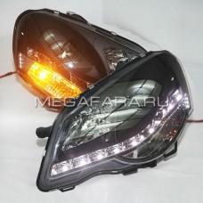 Передние фары Фольксваген Поло 2010-19 V2 type [Комплект Л+П; якие ходовые огни; светодиодные; линза под галоген]