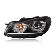 Передние фары Гольф 6 2008-2012 V10 Type [Комплект Л+П; светодиодные ходовые огни; электрокорректор; SILVER LINE]