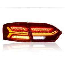 Задние фонари Джетта 6 2011-2013 V7 type [Комплект Л+П; Полностью светодиодные; динамичный поворотник; Темно красные]