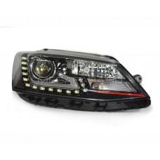 Передние фары Джетта 6 2011-2019 V16 type [RED line; Комплект Л+П; ходовые огни; биксеноновая линза Хелла 5R; электрокорректор; OEM replica]