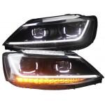 Передние фары Джетта 6 2011-2019 V14 type [Комплект Л+П; ходовые огни; биксеноновая линза Хелла 5R; электрокорректор; динамичный светодиодный поворотник]