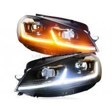 Передние фары Гольф 7 V9 type [Комплект Л+П; светодиодные яркие ходовые огни; биксеноновая линза HELLA 5R; электрокорректор; динамичный поворотник]