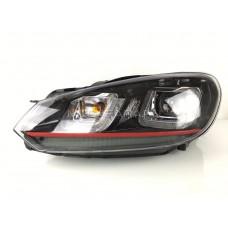 Передние фары Гольф 6 2008-2012 V10 Type [Комплект Л+П; светодиодные ходовые огни; электрокорректор; RED LINE]