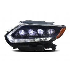 Передние фары Ниссан Х-трейл Т32 2014-2016 V8 type [Комплект Л+П; светодиодные ходовые огни; LED линзы; электрокорректор]